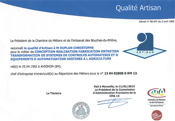 Diplôme Qualité Artisan attribué à Christophe Duplan par la Chambre de Métiers et d'Artisanat des Bouches du Rhône